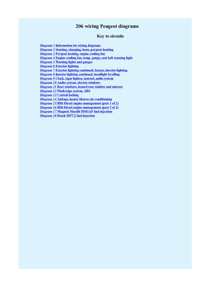 Peugeot 206 Wiring Diagram Pdf 1021 Kb Repair Manuals